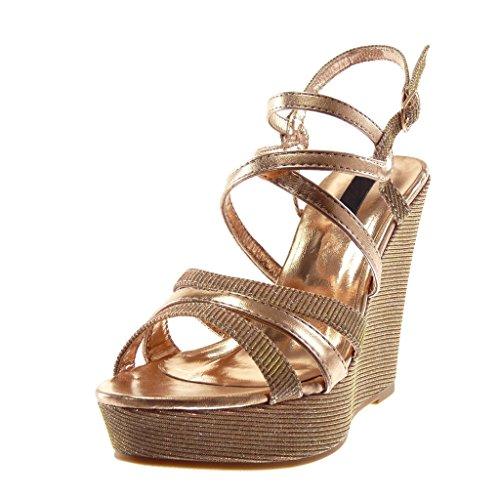 Angkorly Damen Schuhe Sandalen Mule - Plateauschuhe - knöchelriemen - glänzende - Glitzer - Gekreuzte Riemen Keilabsatz High Heel 12 cm - Champagner L-6139 T 40