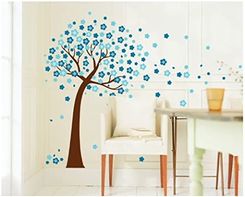 Colorfulworld blaue Blumen Baum Wandtattoo Wandaufkleber Wall sticker- Bogen Gr.