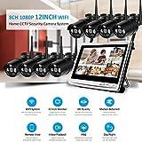 Hppbody WLAN Heimüberwachung System Set, 1080P 8 Channels 12inch Monitor NVR Heimüberwachung Kamera Kit, mit 8PCS 960P Wasserfeste IP Überwachungs Kameras,P2P,Vorinstallierte 1-TB-Festplatte, MXW06