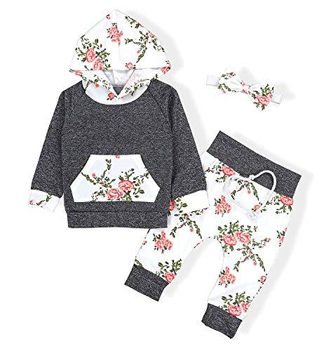 Sfuzwg Säuglingsbaby-Mädchen-mit Kapuze Strickjacke-Hosen-Stirnband 3PCS stellt mit Taschen-Sweatshirt mit Blumen EIN