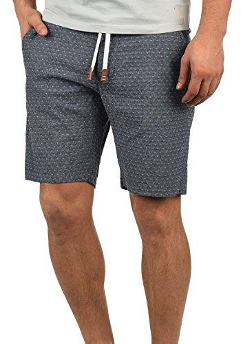 Blend Serge Herren Chino Shorts Bermuda Kurze Hose Mit Rauten-Muster Und Kordel-Gürtel Aus 100% Baumwolle Regular Fit, Größe:L, Farbe:Navy (70230) -