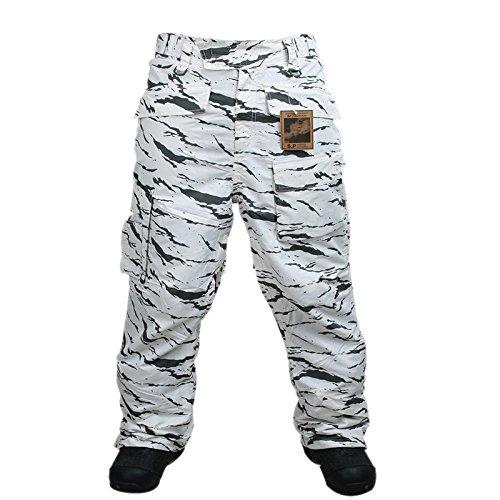 South Play Herren Camouflage Wasserdichte Ski-Snowboard-Weiß Camo Military Hosen (Large)