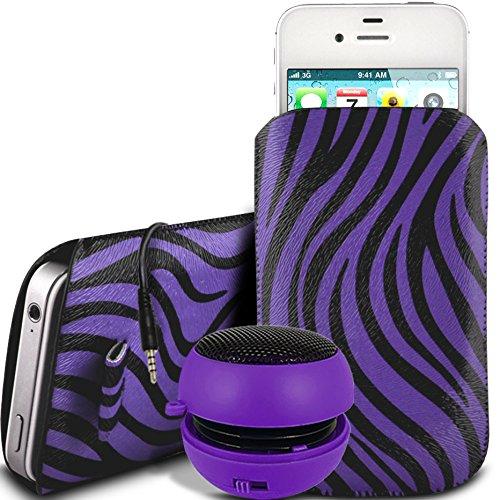 N4U Online - Nokia Lumia 920 PU Leder Schutz Zebra-Entwurf Zuglasche Cord Schlupf in Hülle Tasche mit Schnellspanner & 3.5mm aufladbare Mini-Lautsprecher - Lila