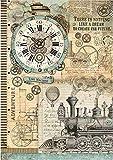 Zita`s Creative Reispapier A3 - Voyages fantastiques Clock. Motiv-Strohseide, Strohseidenpapier, Decoupage Papier
