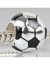 Fútbol encanto con negro esmalte 925 plata de ley balón de fútbol deportes Compatible con cuentas