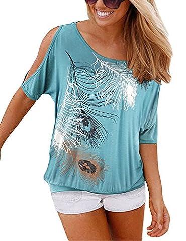 Yidarton Sommer Frauen Bluse weg von der Schulter Short Sleeve Feder Druck Muster Jumper Tops Pullover T-Shirt, türkis,