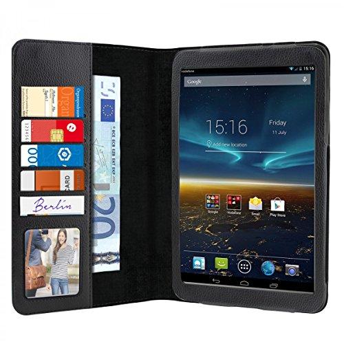 eFabrik Schutz Hülle für Vodafone Smart Tab 4G ( 8 Zoll ) Case Tasche Cover Schutztasche Schutzhülle Etui Auto Sleep / Wake up Funktion ( nicht für Smart Tab 4 geeignet ! ) Leder-Optik schwarz