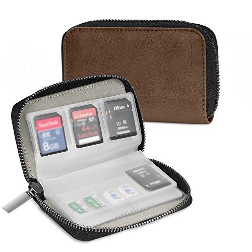 Leder Tasche Tragetasche (MoKo Speicherkarten Tasche - PU Leder SD Case Aufbewahrung Tragetasche Box Etui, 22 Speicherkarten(8 Seiten)für SD CF SDHC SDXC MMC TF Nintendo Switch Spiele, Braun)