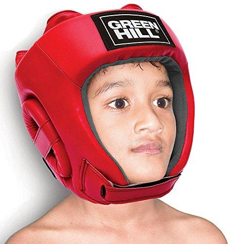 CASCO DA BOXE BAMBINO PUGILATO GREEN HILL BOXING HEAD GUARD CASCHETTO KID BIMBO (Rosso, Modello Aperto)