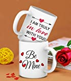 #7: TiedRibbons® Valentines Gifts for Boyfriend Girlfriend I am truly in love, Be mine Printed Coffee Mug Combo(325ml,White)