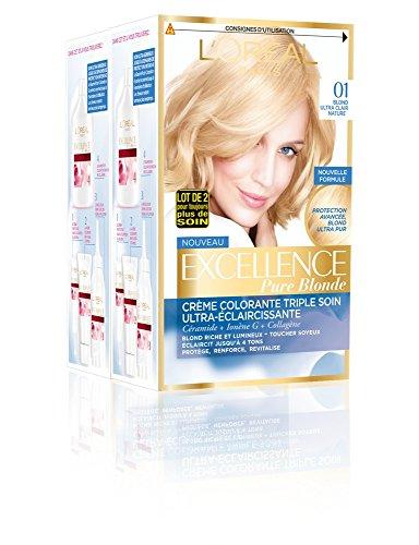 L'Oréal Paris - Excellence Crème - Coloration Permanente Triple Soin 100% Couverture Cheveux Blancs - Nuance 01 Blond Ultra Clair Naturel - Lot de 2