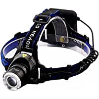 LED Lampada da testa, Meyoung Super Luminosa LED faro del faro XM-L T6 2000 lumen per l'esecuzione di campeggio d'escursione di pesca [3 Luminosità] con archetto regolabile Zoom impermeabile luce della testa Torcia