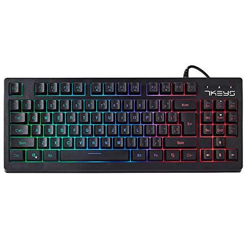 TZX Wired Gaming Keyboard, USB mechanische Tastatur, RGB-Hintergrundbeleuchtung für Tablet-PC, Notebook-Computer-Spiel/RPG (Schwarz)