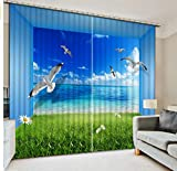 MSCLY Gras-Blauer Himmel-Weiß Bewölkt Seemöwen Vorhänge 3D Im Wohnzimmer Büro-Hotelhauptwand-Hochpräzises Schatten-Gewebe H240Xw260Cm