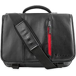 Maletín para Ordenador de Cuero de Snugg en Negro para Portátiles, Notebooks de hasta 43,2 cm (17 pulgadas)
