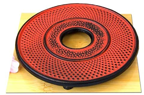 Trivet round hobnail sunset red