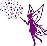 Wandtattoo Fee mit Sternen - mit Namen möglich - Made in Germany - in verschiedenen Farben und Größen - Mädchen Prinzessin Elfe Kinderzimmer Wandaufkleber Wandsticker (65cm x 65cm, violett)
