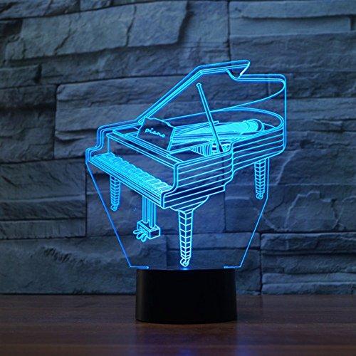 LED Nachtlicht,KINGCOO Magical 3D Visualisierung Amazing Optische Täuschung Touch Control Light 7 Farben ändern Schreibtischlampen für Kinderzimmer Home Decoration Best Geschenk (Piano) - 9