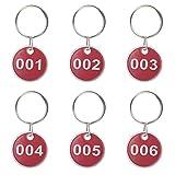 Aspire nummerierte Schlüsselanhänger aus Metall, 30mm, 50Stück 1 to 50 rot
