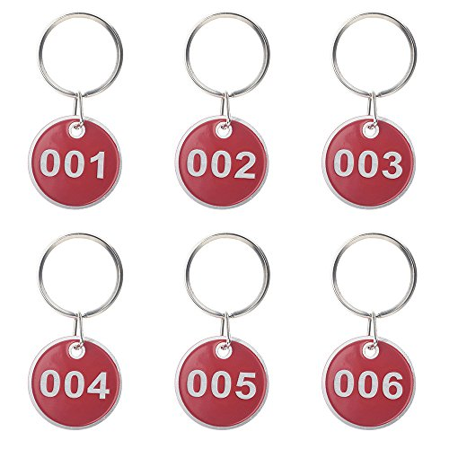Preisvergleich Produktbild Aspire nummerierte Schlüsselanhänger aus Metall, 30mm, 50Stück 1 to 50 rot