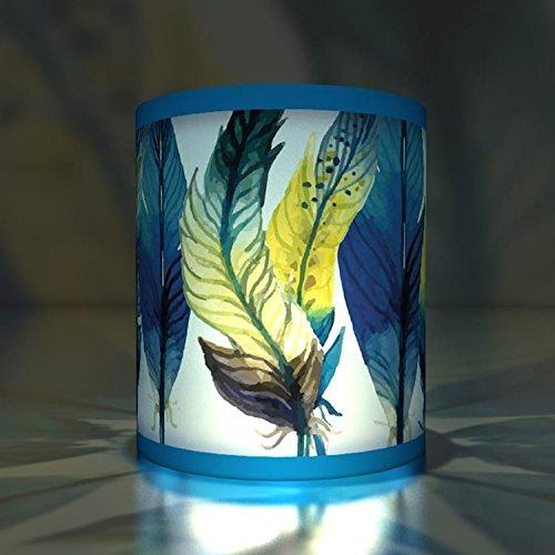 (Kartenkaufrausch 5 Transparentlichter| Teelichthalter| Kleine Transparentpapier Leuchten mit Feder Motiv, Blau)