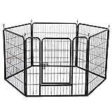 Yaheetech 6 Piezas Vallas para Perros Parque Jaula Mascota Corral Plegable Jaula Parque 80 X 80 cm