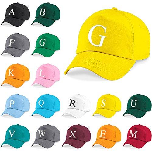 New Casquette de Baseball Cap BRODÉ Letter A Z Garçon Fille Enfants Chapeau Bonnet Unisexe Jaune 4sold C