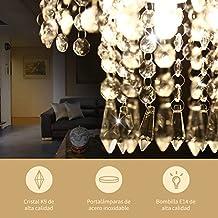 YISSVIC Lámpara Araña de Techo de Cristal Luces de Techo LED inoxidable Lámpara de Techo de Cristal K9 para Recibidor, Barra, Cocina, Comedor, Habitación Niños