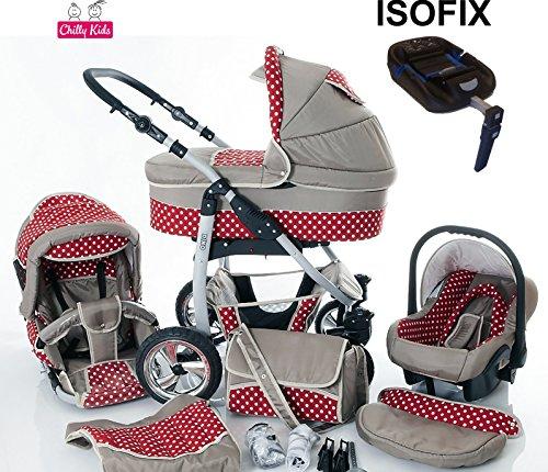 Chilly Kids Dino Kinderwagen Safety-Set (Autositz & ISOFIX Basis, Regenschutz, Moskitonetz, Getränkehalter, Schwenkräder) 36 Beige & Rot & Weiße Punkte