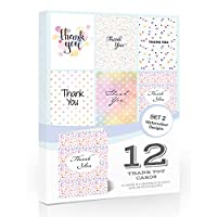 12 x Watercolour Thank You Cards by Olivia Samuel - Folding Style Multipack - Set 2 with Envelopes