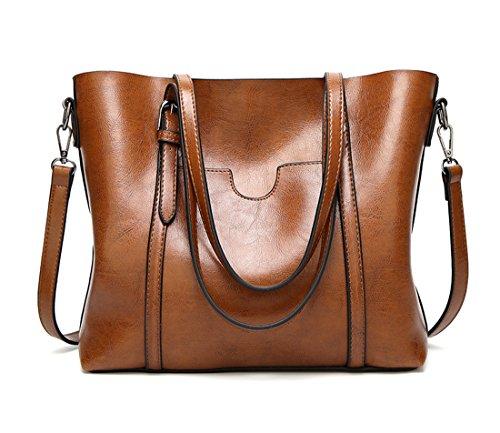 Panzexin Hochwertige Luxus PU Designer Handtaschen für Damen Handtasche Art und Weise der Frauen große Umhängetasche Tragetasche Geldbeutel Braun (Bag Tote Designer-handtasche)