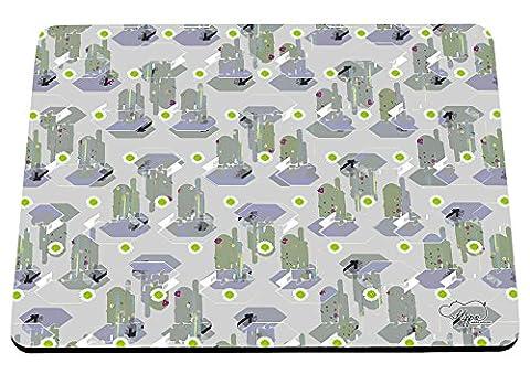 Hippowarehouse contemporain Cactus Motif imprimé Tapis de souris accessoire de base en caoutchouc Noir 240mm x 190mm x 60mm, Green, taille unique