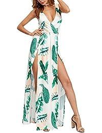 StageOnline Mujer Vestido Largo Sin Mangas de Escotado por Detras Maxi Vestidos Flores de Noche Playa