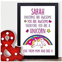 UNICORN Christmas Gifts PERSONALISED Xmas Presents Daughter Girls Niece for Her - PERSONALISED with ANY NAME and ANY RECIPIENT - Black or White Framed A5, A4, A3 Prints or 18mm Wooden Blocks