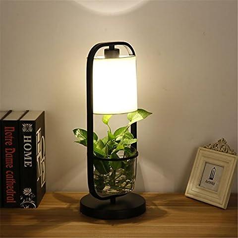 Moderne vert Plante Lampe de table, Pour ampoule E27 Hydroponique Herbe Titulaire Éclairage de bureau Chambre salon Décoration