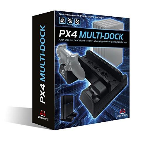PX4 Multi-Dock All-In-One Ladestation, Standfuß, Kühlung und Archivierung für PlayStation 4, PS4 Slim und PS4 Pro