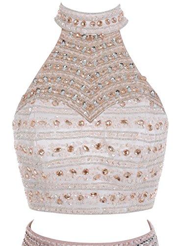Bbonlinedress Robe de soirée et de bal emperlée col roulé dos nu sans manches avec la fente deux pièces longueur ras du sol en mousseline Marine