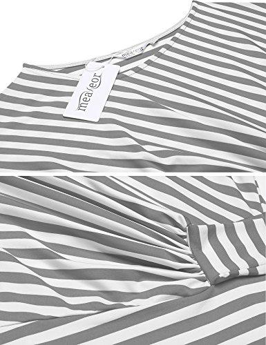 Meaneor Damen Gestreiftes Kleid Sommerkleider Striped Stretch Jersey Kurz Ärmel Etuikleid in Figurbetonter Passform Grau&Weiß