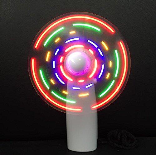 Fytoo Mini Ventilator,LED Glänzen Ventilator mit Flash-Wörter,DIY Handventilator, Creative Geschenk für Mädchen (Rot(USB+1200mah Batterie ))