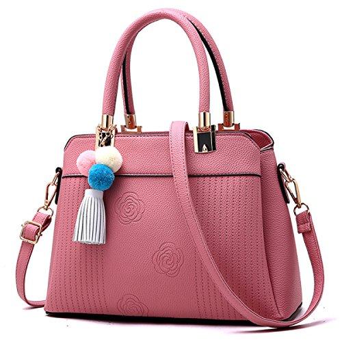 WU ZHI Dame Fashion Handtasche Troddel Einfache Wild Schultertasche Handtasche Messenger Bag Pink1