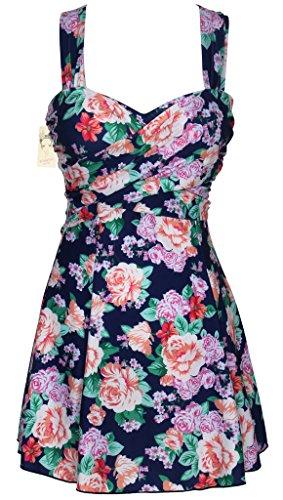 Crossover donna elegante costumi da bagno un pezzo Swimdress Con Fondo Swimsuit Peony Floral print Asia XXXL, DD
