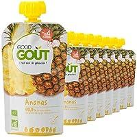 Good Goût - BIO - Gourde de Purée de Fruits à l'Ananas dès 4 Mois 120 g - Pack de 8