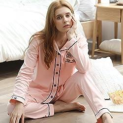 Pijama conjunto de pijama ropa de dormir ropa de dormir mujer dos piezas algodón rosa gato solapa estilo de camisa primavera otoño invierno lindo transpirable suave sala de estar parque ( Size : XL )