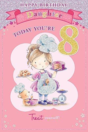 "Daughter\'s, 8. Geburtstag, englischsprachig, 8 Today \""Little Girl &Bear Backen, 9 x 6 cm"