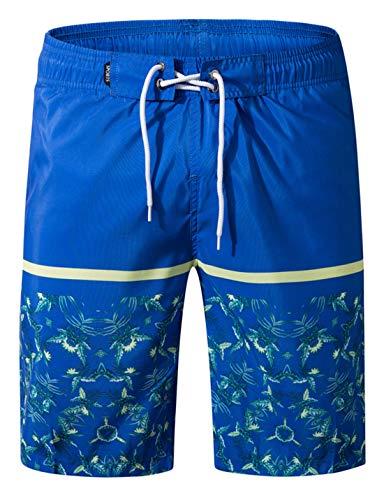 APTRO Herren Slim Fit Freizeit Shorts Casual Mode Urlaub Strand-Shorts Sommer Kokosnuss Palmen Mit Innenslip, Blau-1807, 3XL