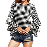 YANG YI Clearance Offer Women's Casual Stylish Lattice Round Neck Loose Polka Plaid Bell Sleeves Tops T-Shirts & Shirts