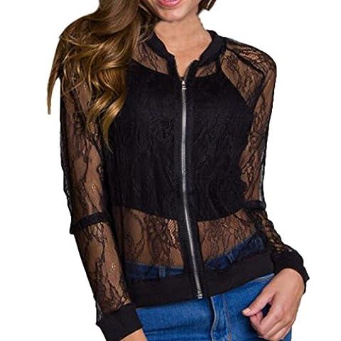Femmes Casual Chemisier Blouse, Vintage Creux Fleur Fermeture éclair Cru blazer Manteau Outwear Coat par Reaso (XXL, Noir)