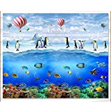 Pbldb Unterwasserwelt Marine 3D Wallpaper Benutzerdefinierte High-End-3D-Wandbilder Wallpaper Für Wände 3 D Unterwasserwelt Antarctic Penguin Hot Air Balloon Wallpapers-250X175Cm