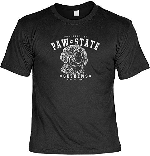 Hunde Shirt/ T-Shirt mit Paw State Dog Aufdruck: Paw State - Golden Retriever - tolles Tier Motiv Schwarz
