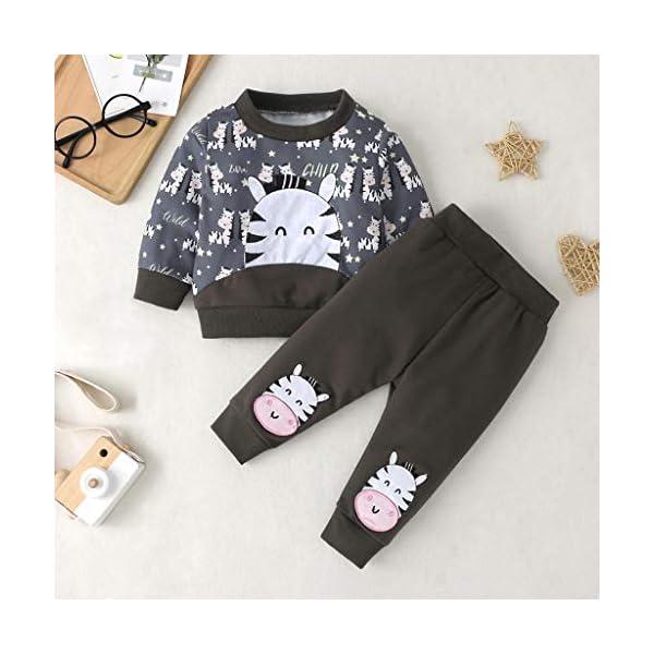 Tefamore Sudadera Niño Conjuntos Recién Nacido Infantil Bebé Niños Niñas Dibujos Animados Tops Pantalones Trajes Ropa de… 2